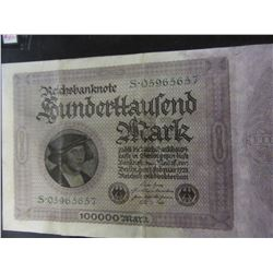 1923 GERMAN 100,000 MARK CURRENCY BANK NOTE