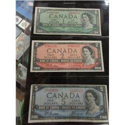 1954 CANADA $1, $2, & $5 LEGAL TENDER BANK NOTES