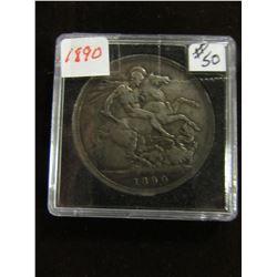 1890 VICTORIAN SILVER CROWN