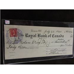 GOVERNMENT STAMPED 1940 ROYAL BANK OF CANADA COUNTER CHEQUE