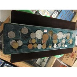 TRAY OF BRITISH, FRANCE, CANADA & SHELL OIL TOKENS