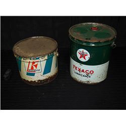 Texaco 35 Pound Pail With Lid & Royalite 25 Pound Grease Pail