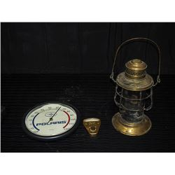 Brass Lantern, Wiper Pressure Gauge, & Polaris Thermometer
