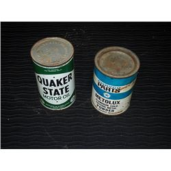 Quaker State 1 Imp Quart Tin & Chryco Metolux Casting Metal Powder Tin