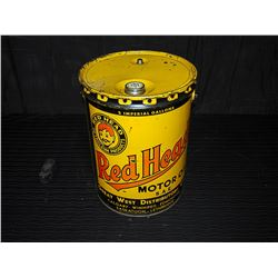 Red Head Motor Oil 5 Imperial Gallon Pail With Lid