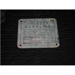 Grizzly Gasoline Tin Pump Plate