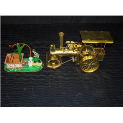 Functional Brass Steam Roller Model w/ Tin Belt Driven Water Pump