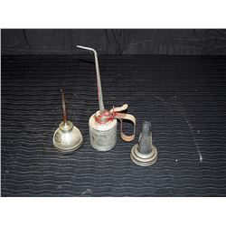 (2) Vintage Oilers & Metal Oil Spout