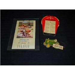 1955 Framed Calendar, Gates Fan Belt Finder & John Deere Credit Advertising Card