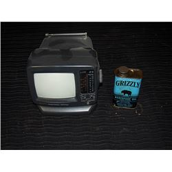 Small Portable TV & Grizzly Neatsfoot Oil Tin