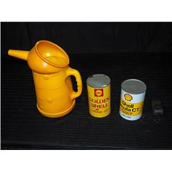 (2) Shell Tins (Rimula with Contents) & Plastic Shell Oil Pourer
