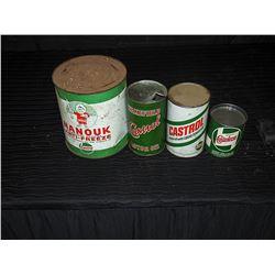 (4) Castrol Empty Tins