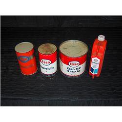 (2) Full Esso Marvelube Tins, Esso MP Grease Tin, & Esso Plastic Outboard Motor Oil