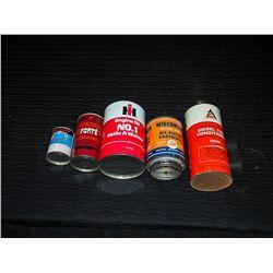 IH Coin Bank Tin, Allis Chalmers Tin, Wisconsin Filter, Forte Tin (Full), & Small Motomaster Tin
