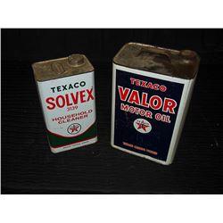 Texaco Solvex & Texaco Valor Tins