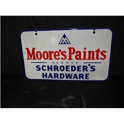 Moore's Paints Double Sided Porcelain Sign