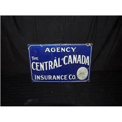 Central Canada Insurance Single Sided Porcelain Sign