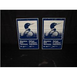 (2) Migratory Bird Single Sided Tin Signs