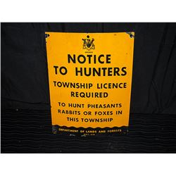 Province of Ontario Hunting Tin Sign