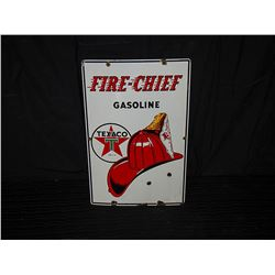 Original 1947 Texaco Fire Chief Pump Sign, Single Sided Porcelain