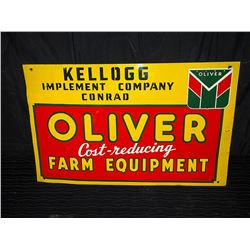 Original Oliver Farm Equipment Single Sided Painted Tin Sign