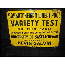 Saskatchewan Wheat Pool Single Sided Tin Sign