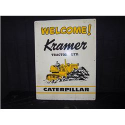 Original Wooden Kramer Tractor Caterpillar Sign