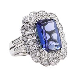 10.17 ctw Tanzanite and Diamond Ring - Platinum