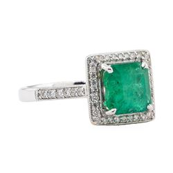 2.27 ctw Emerald and Diamond Ring - 18KT White Gold