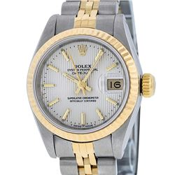 Rolex Ladies 2 Tone 14K Silver Index Tapestry Fluted Datejust Wristwatch