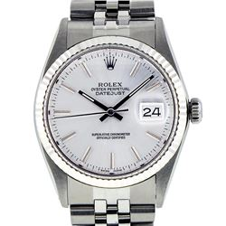 Rolex Mens Stainless Steel 36MM Slate Grey Index Datejust Wristwatch