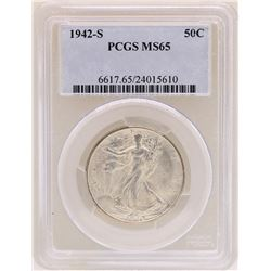 1942-S Walking Liberty Half Dollar Coin PCGS MS65