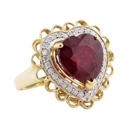 11.31 ctw Ruby and Diamond Ring - 14KT Yellow Gold