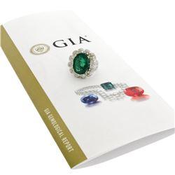 18K White Gold 15.15 ctw Large Oval Brilliant GIA Emerald & Diamond Ring