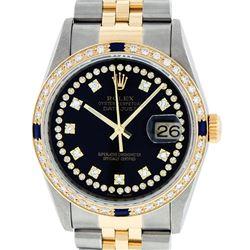 Rolex Mens 2 Tone 14K Black String Diamond & Sapphire 36MM Datejust Wristwatch