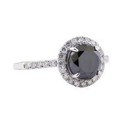 2.54 ctw Black Diamond Ring - 14KT White Gold