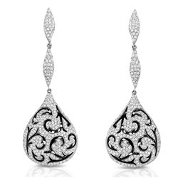 18k White Gold 2.81CTW Diamond Earrings, (VS2 /G)