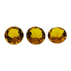 16.14 ctw.Natural Round Cut Citrine Quartz Parcel of Three