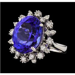 11.09 ctw Tanzanite and Diamond Ring - 14KT White Gold