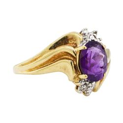 1.51 ctw Amethyst and Diamond Ring - 10KT Yellow Gold