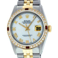Rolex Mens 2 Tone 14K Mother Of Pearl Diamond & Ruby 36MM Datejust Wristwatch