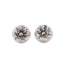 0.65 ctw Diamond Stud Earrings - 14KT White Gold