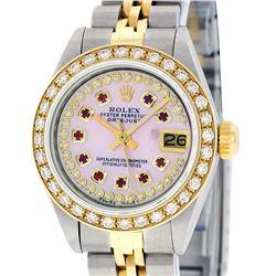 Rolex Ladies 2 Tone 18K Pink MOP Ruby Diamond Datejust Wristwatch With Rolex Box