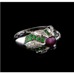 1.40 ctw Ruby, Tsavorite and Diamond Ring - 18KT White Gold