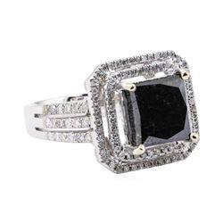 4.94 ctw Black and White Diamond Ring - 14KT White Gold