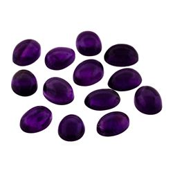 10.60 ctw.Natural Oval Cabochon Amethyst Parcel of Thirteen