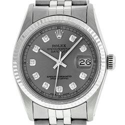 Rolex Mens Stainless Slate Grey Diamond 36MM Datejust Wristwatch