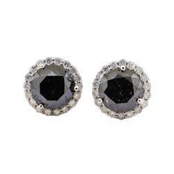 3.92 ctw Black Diamond Earrings - 14KT White Gold