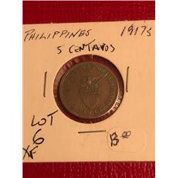 Rare 1917 S Phillipines 5 Centavos Exra Fine Grade