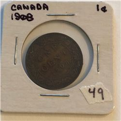 Very Nice 1908 Canada Large Cent in a Old Holder